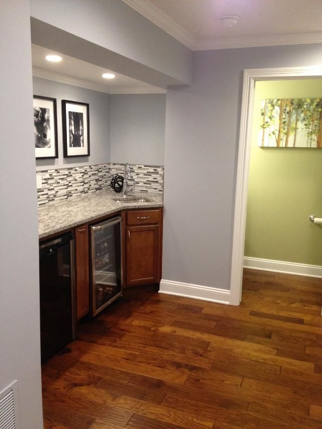 Sherwin Williams Krypton With Artificial Light Cellar And Cherry Cabinets Cherry Cabinets Kitchen Wall Color Kitchen Paint Colors With Cherry Cherry Cabinets