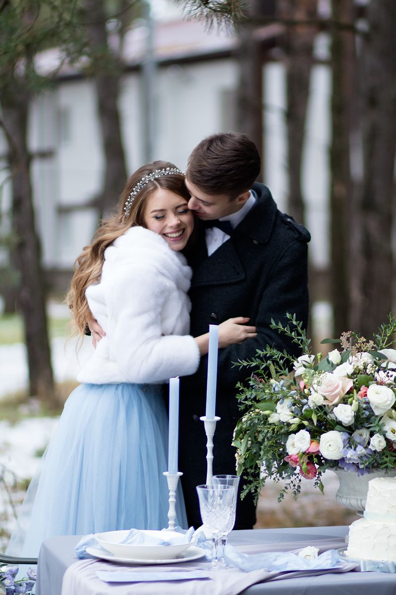 A blue wedding gown for ucsomething blueud winter wedding styled shoot