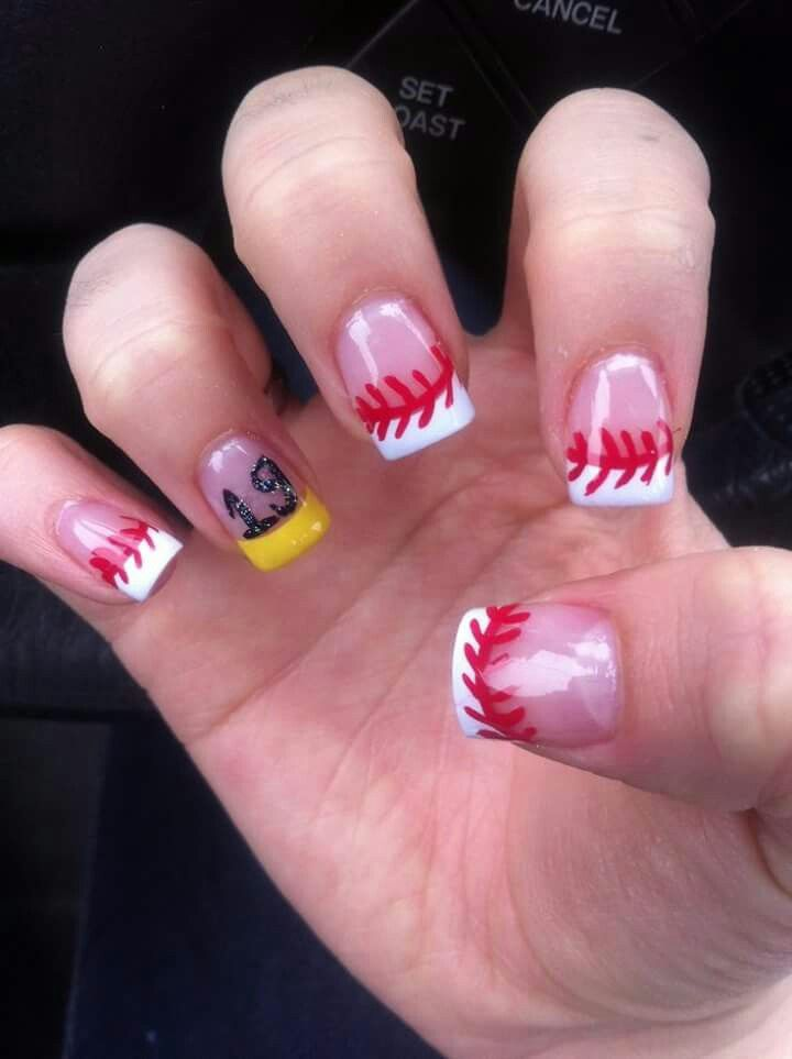 Baseball nails with his number! Sports nail design can do softball also - Pin By April Brunet On Baseball Pinterest Softball Nails, Toe