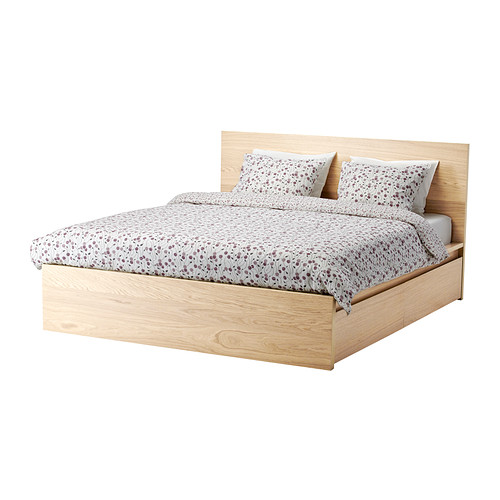 Malm High Bed Frame 4 Storage Boxes White Stained Oak Veneer Queen Ikea In 2020 Malm Bed Frame Ikea Malm Bed Malm Bed