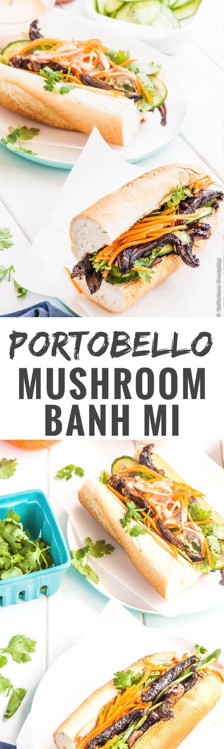 Portobello Mushroom Banh Mi With Sriracha Mayonnaise Vegetarian