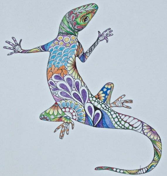 Zentangle Lizard Colored Lizard Original Lizard Drawing Colored Pencil Drawing Wall Art Ink And Colored Pencil Illustration Reptile Art Funky Art Pencil Illustration Tangle Art