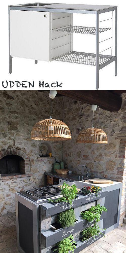Ikea Udden kitchen hacked in outdoor kitchen with a pallet by - udden küche ikea
