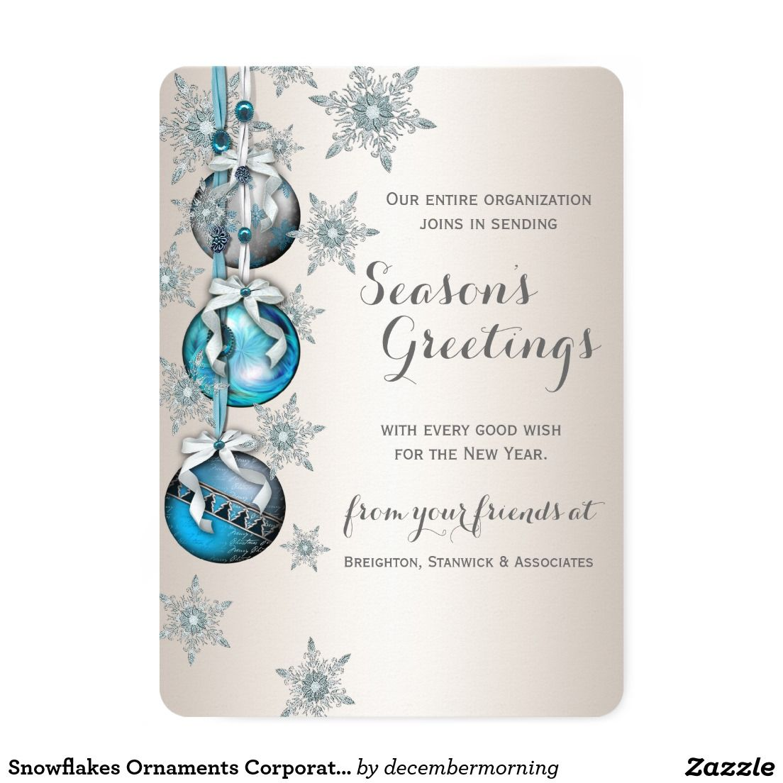 Snowflakes Ornaments Corporate Holiday Greeting 5x7 Paper Invitation Card