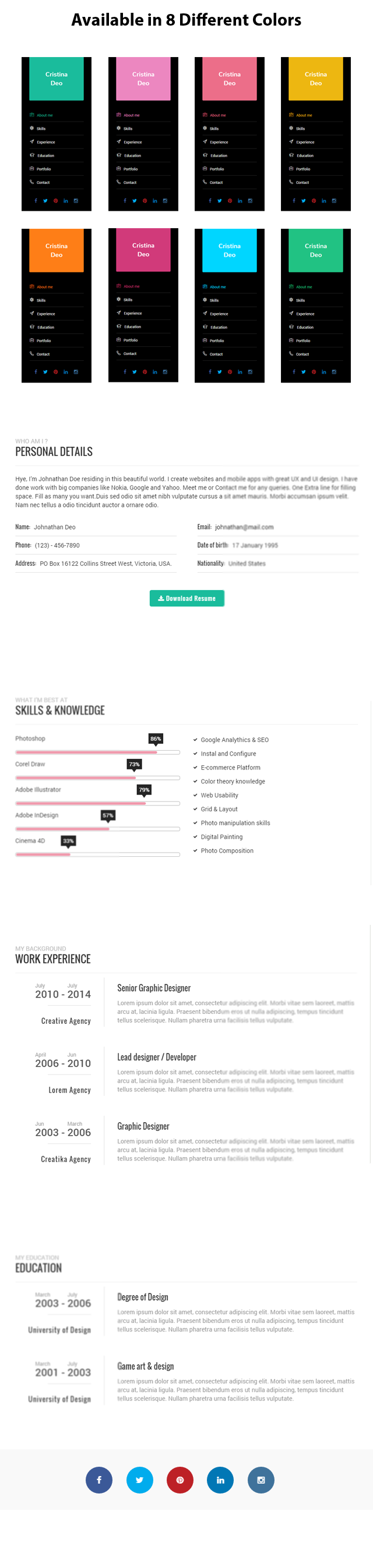 Swiftly – Personal and Resume WordPress Template + Download ...