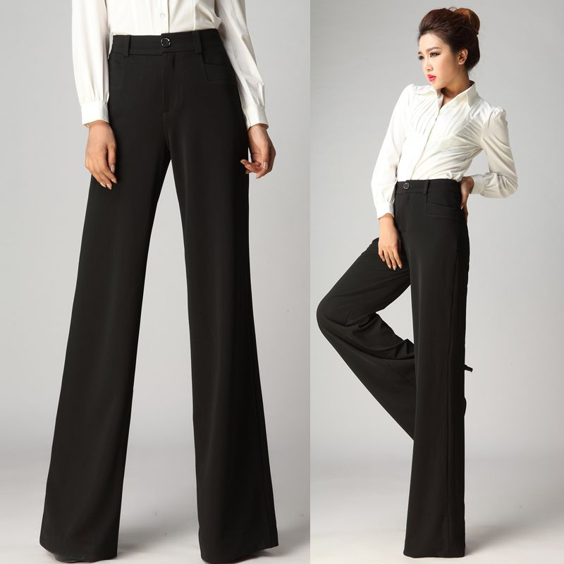 2014 New Winter Autumn Fashion Formal Womens Wide Leg Black Trousers  Fall Female Elegant High ...