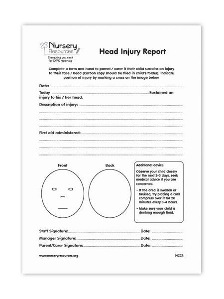 if a child has an injury  the details are recorded  and it