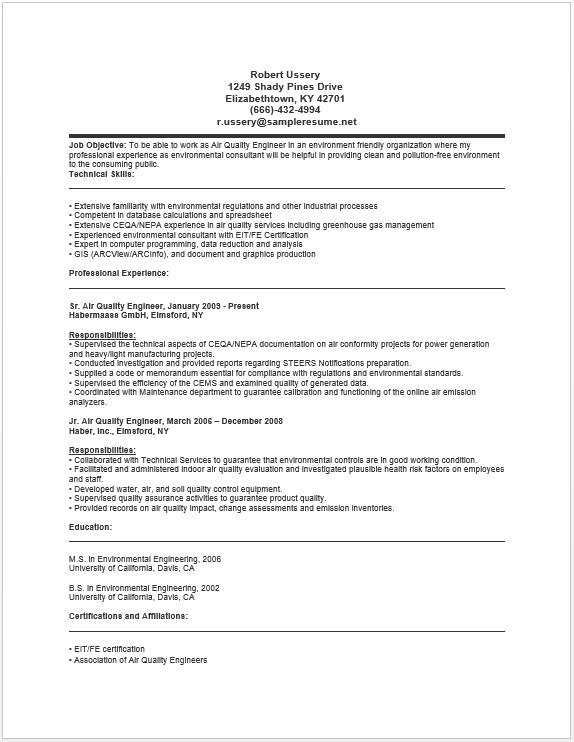Air Quality Engineer Resume Job Images Best Resume Resume