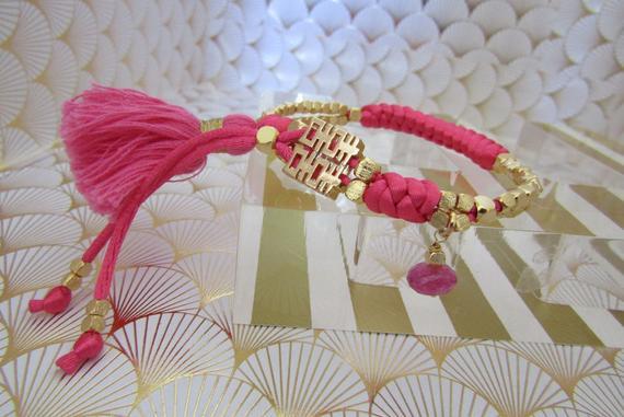 Macrame Bracelet, Braided Bracelet, Gold Bracelet, Macrame Ruby Bracelet, Friendship Bracelet