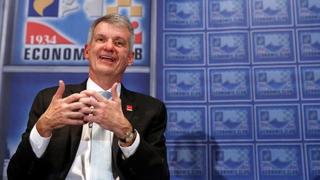 Wells Fargo CEO Tim Sloan takes questions from the