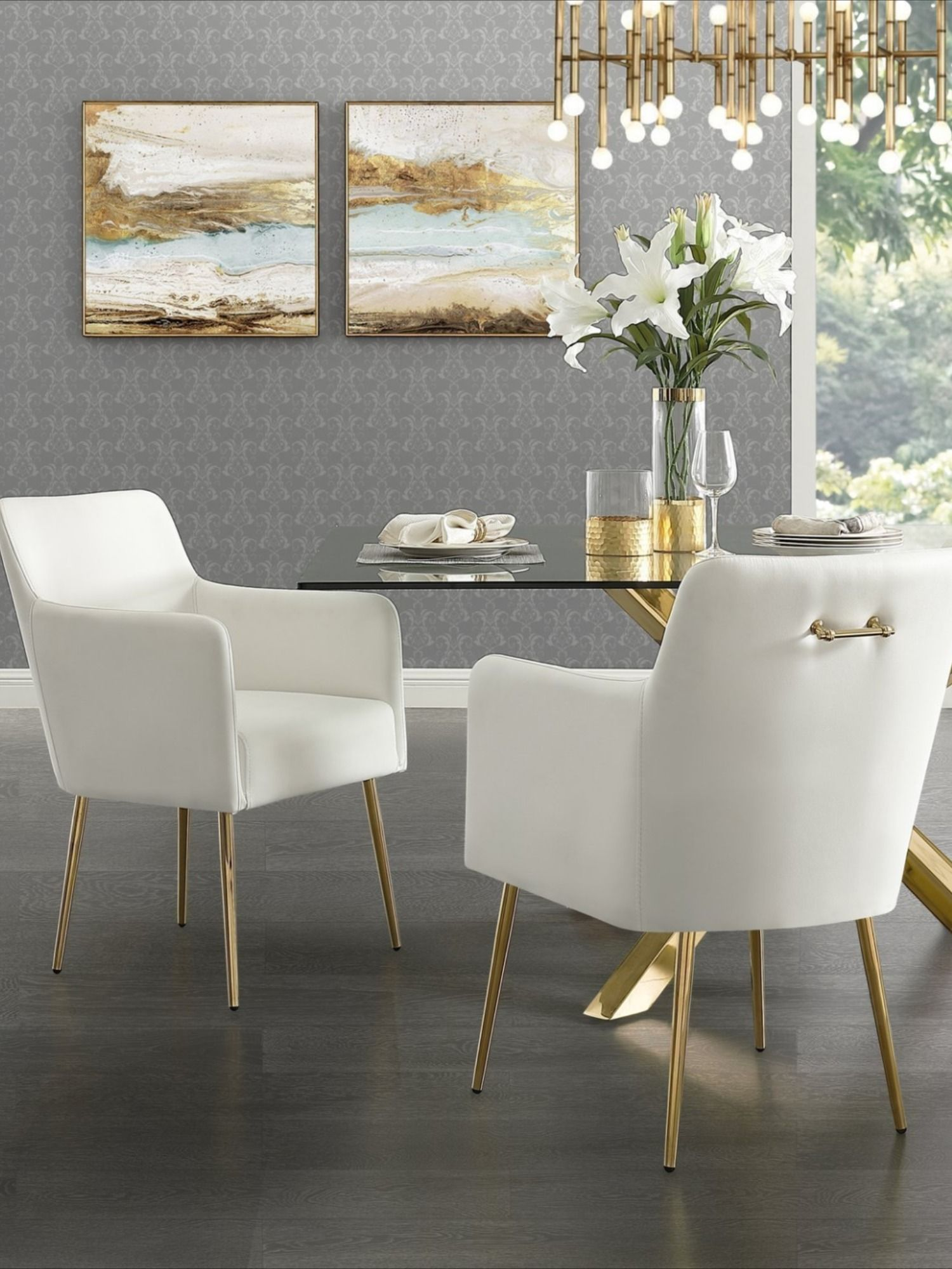 Christine Dining Chair Set Of 2 In 2020 Leather Dining Arm