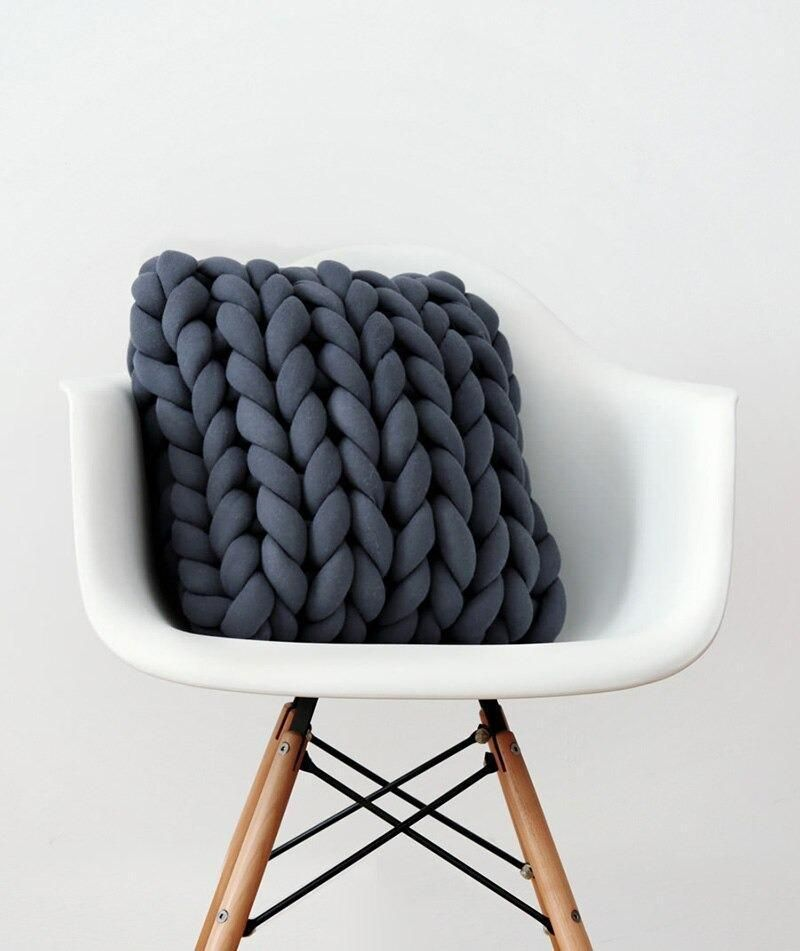 Photo of Braid Knotted Pillow – Dark Gray / 33x33cm