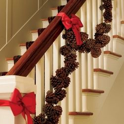 Pine Cone Garland Maybe Add Some White Lights Too Christmas Decorations Christmas Garland Christmas Stairs