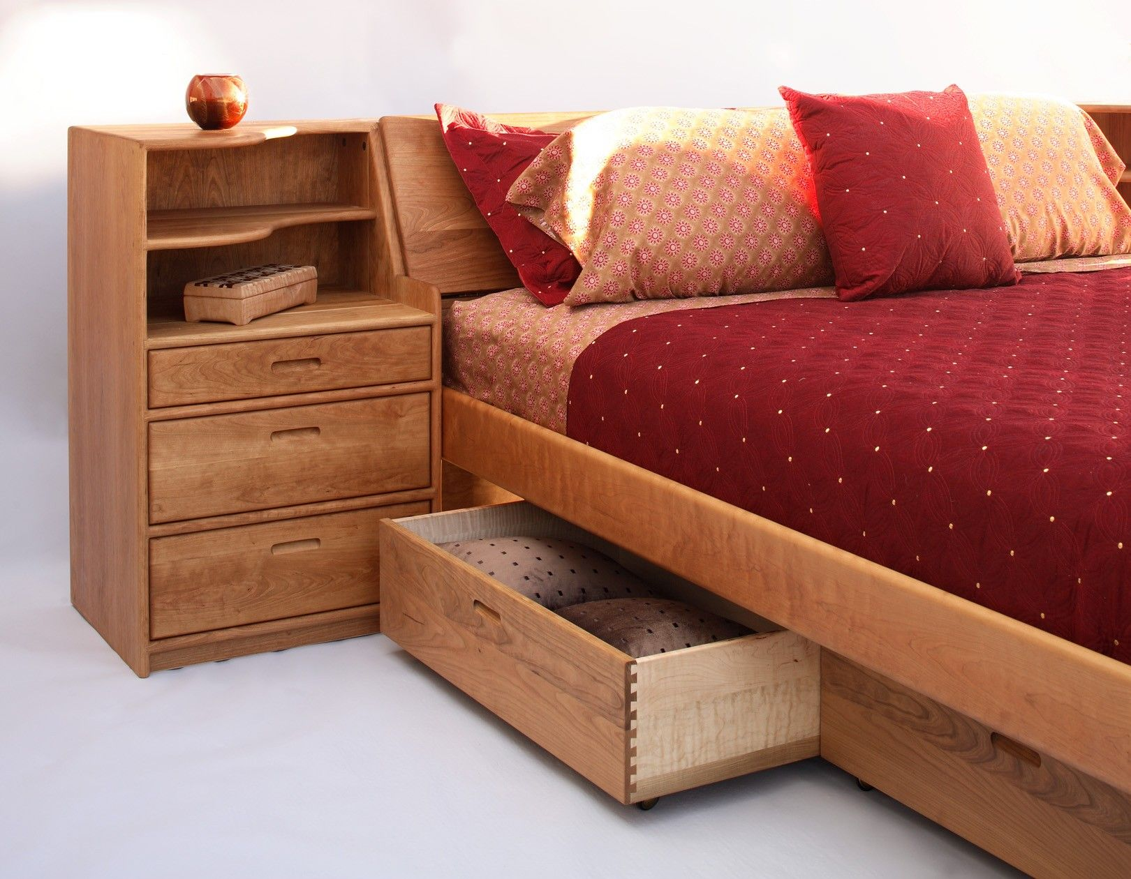Platform Pedestal Bed With Slope Headboard And Nightstands In Cherry With Images Headboard Storage Bed Bed Storage Drawers