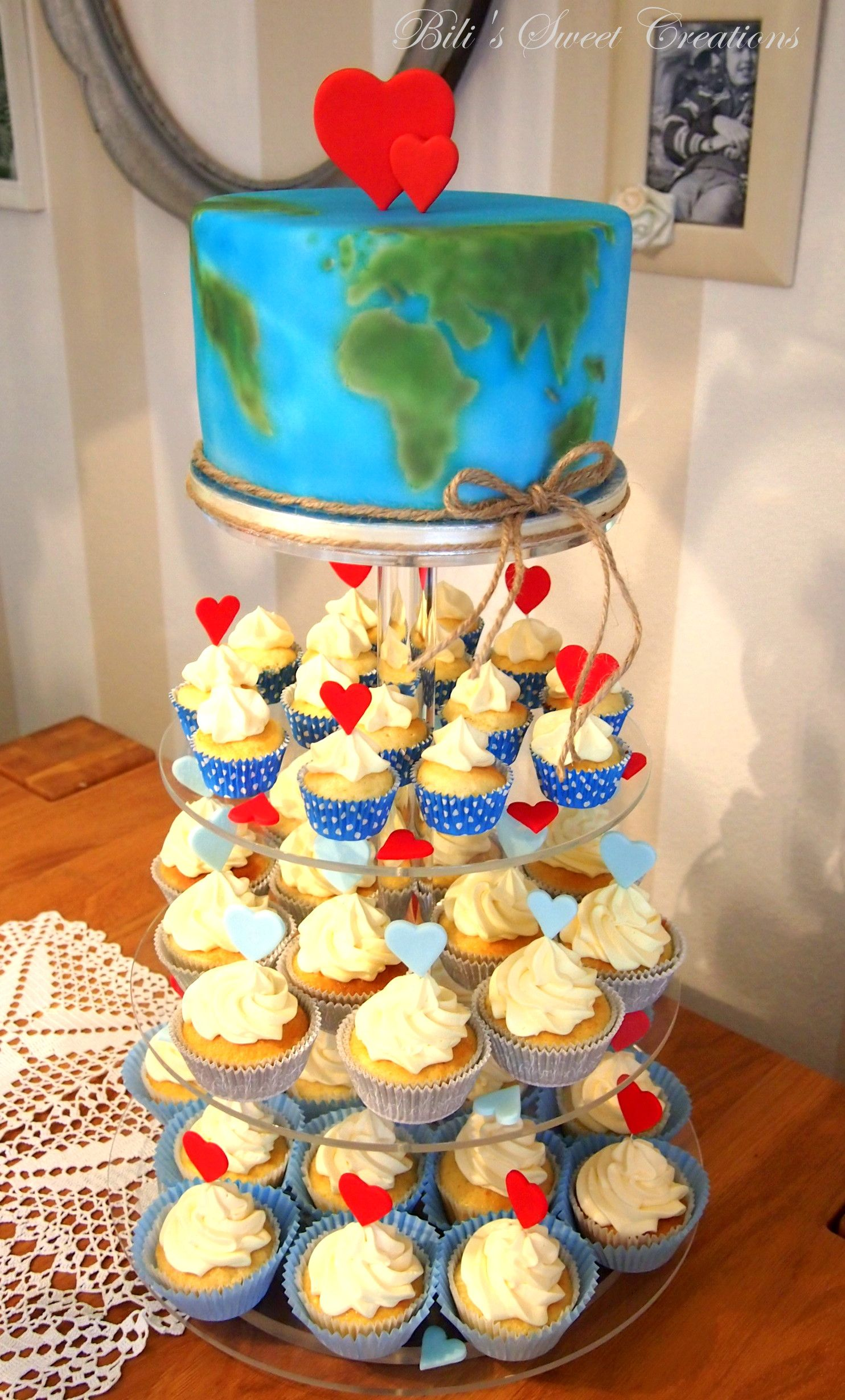 wedding cake travel earth map world map cupcakes