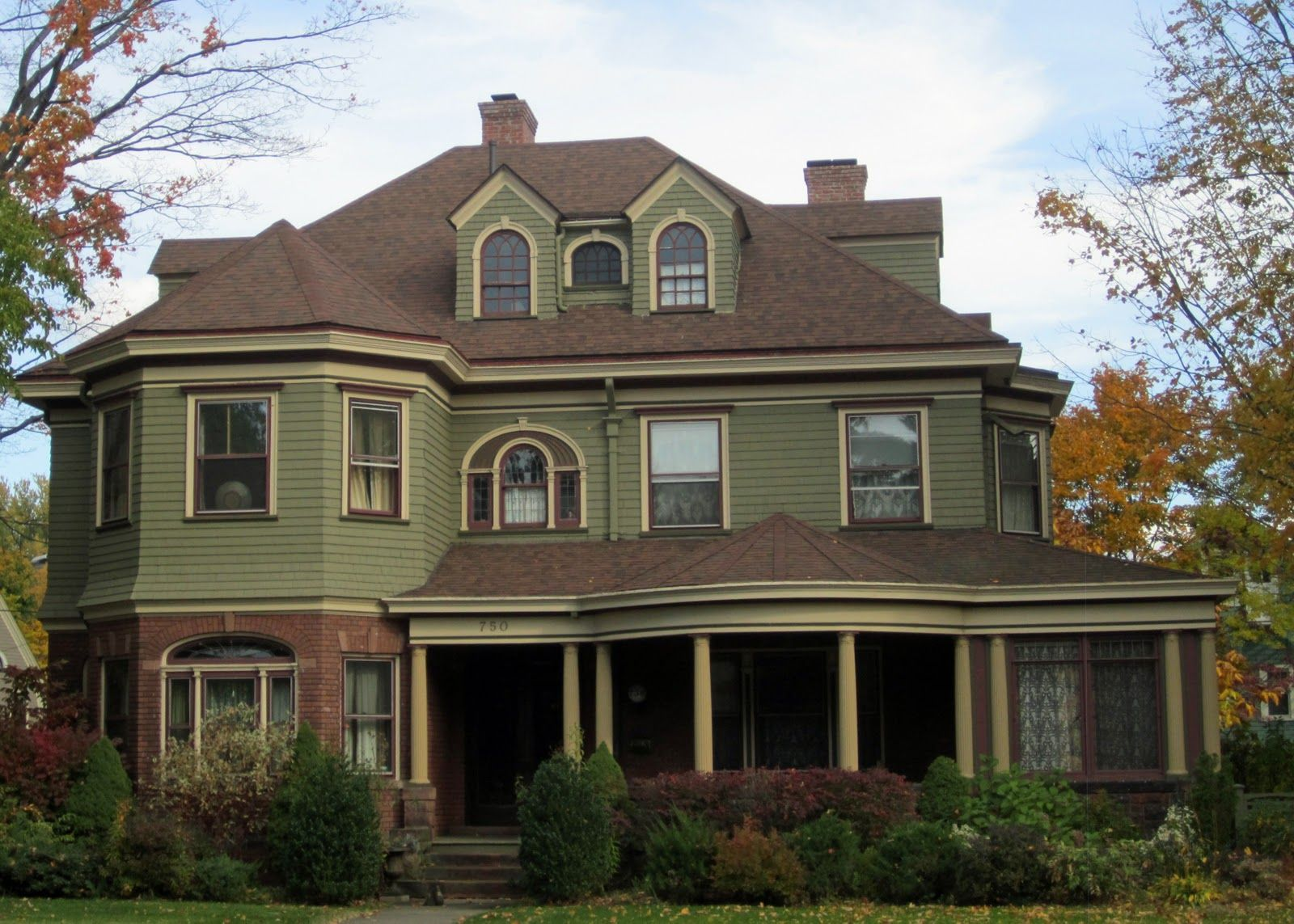 Victorians Brown Roofs Green Exterior House Colors Exterior