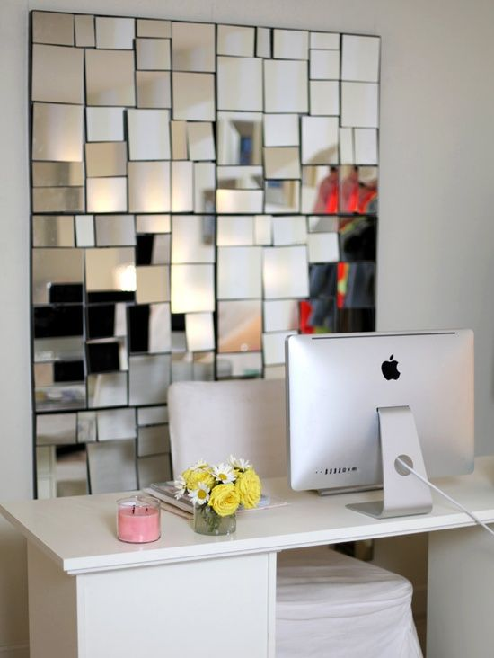 home office mirror accent wall | home ⁞ office ideas | pinterest