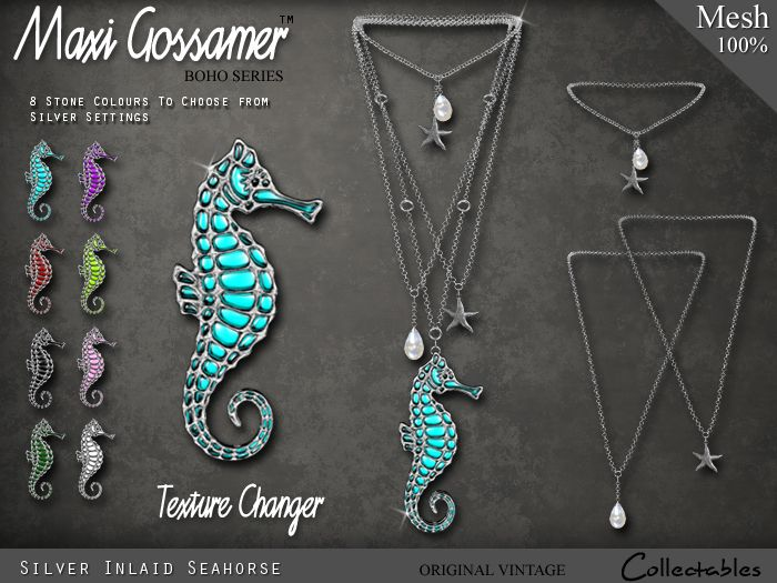 Necklace - Silver Inlaid Seahorse with Starfish and Pearls