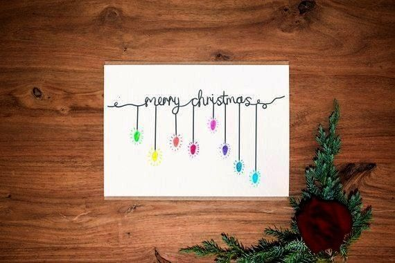 Pack  Hand drawn  Christmas Cards  Personalized message card  Christmas Card Set  Christmas lights  Elegant Christmas  An elegantly hand drawn Christmas card designed by...