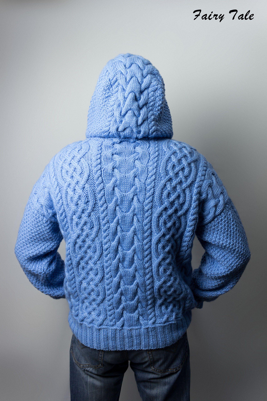 Men's Cable Sweater Knitting Pattern Heavy Wool Irish ...