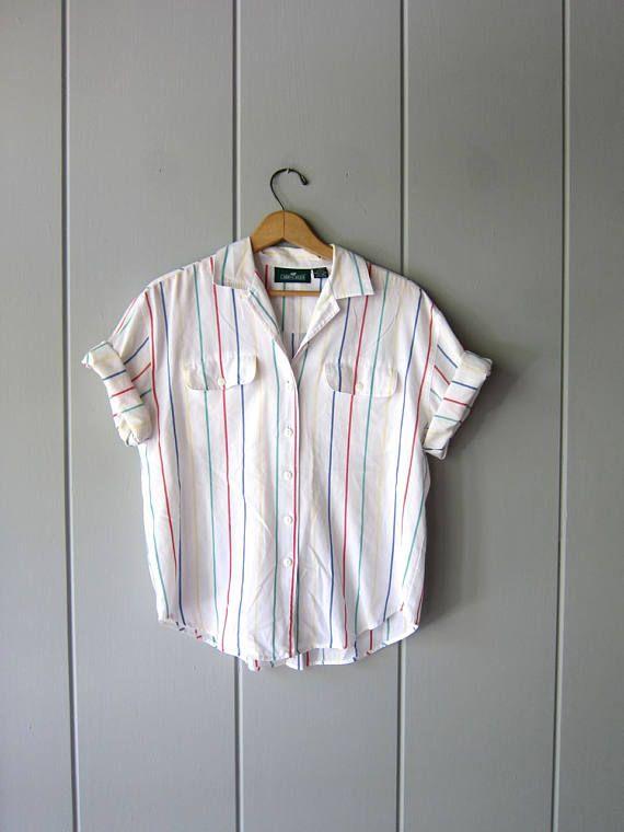 Oversized 80s White Rainbow Striped Tshirt Semi Sheer Cotton Vintage Tops How To Roll Sleeves Stripe Tshirt