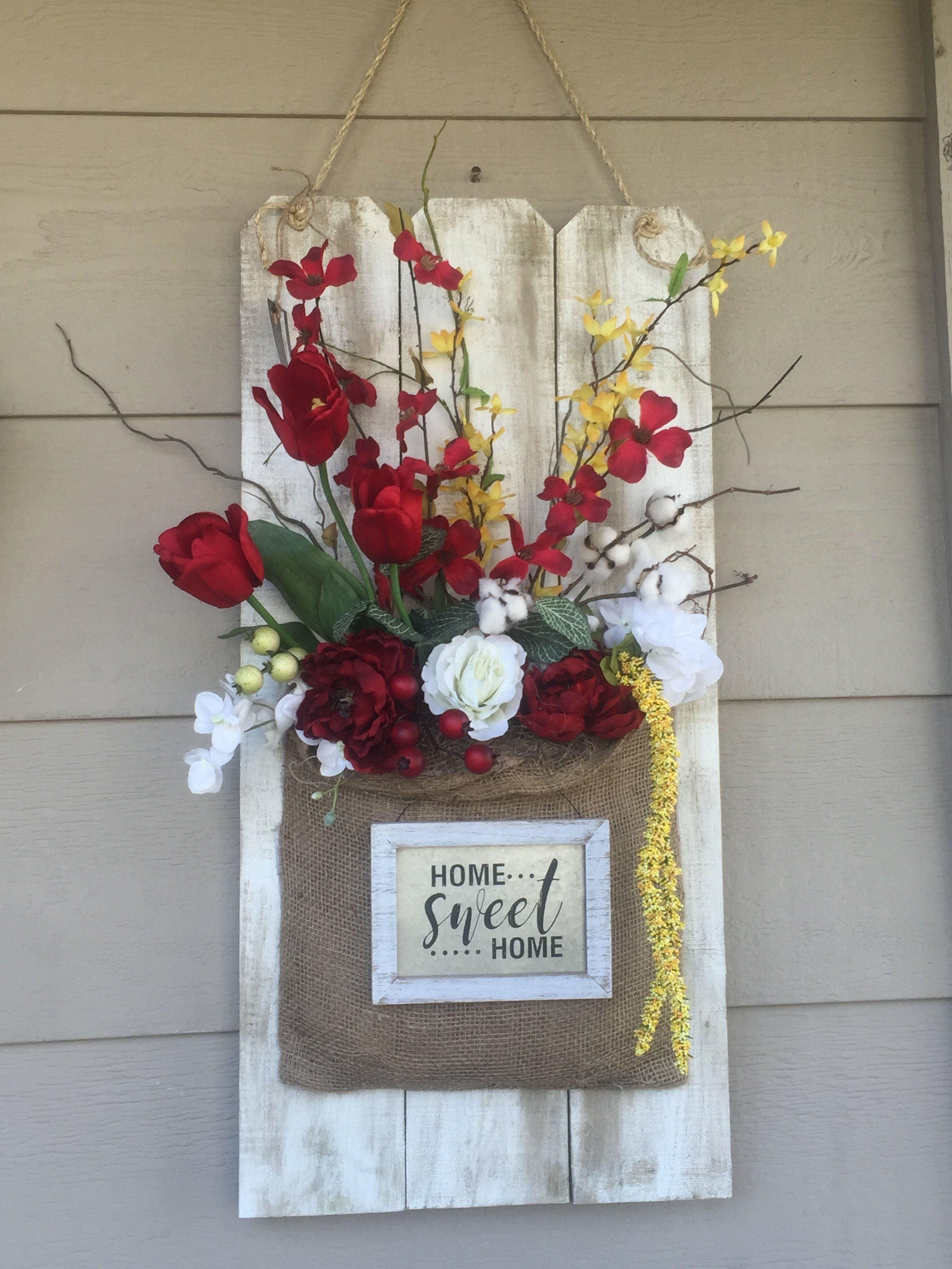 Spring Wall Hanging Arrangement, Tulips, Forsithia, Dog Wood Wooden Fence