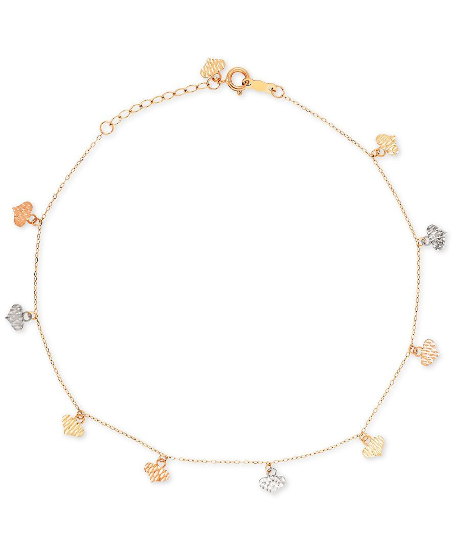 0924907ae58b19 Tri-Color Flat Heart Charm Ankle Bracelet in 14k Gold, White Gold & Rose  Gold