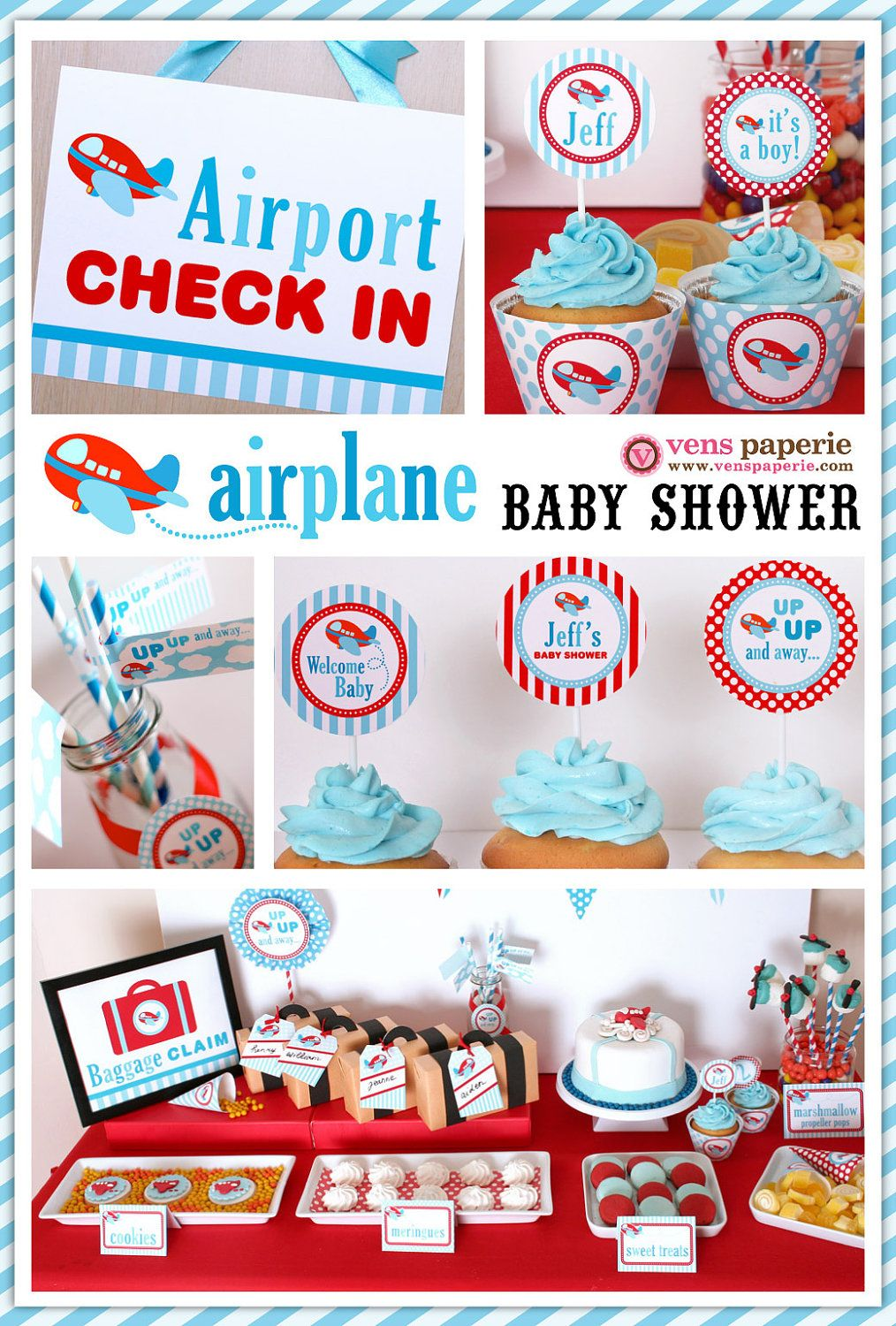Captivating Airplane Baby Shower Package Personalized FULL Collection Set   PRINTABLE  DIY   BS818CA1x