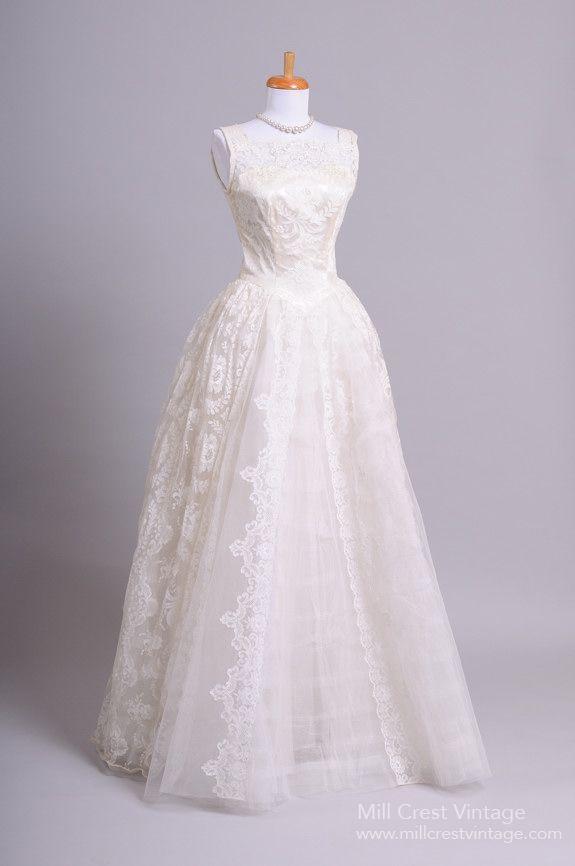1950\u0027s Satin Lace Vintage Wedding Gown  Mill Crest Vintage