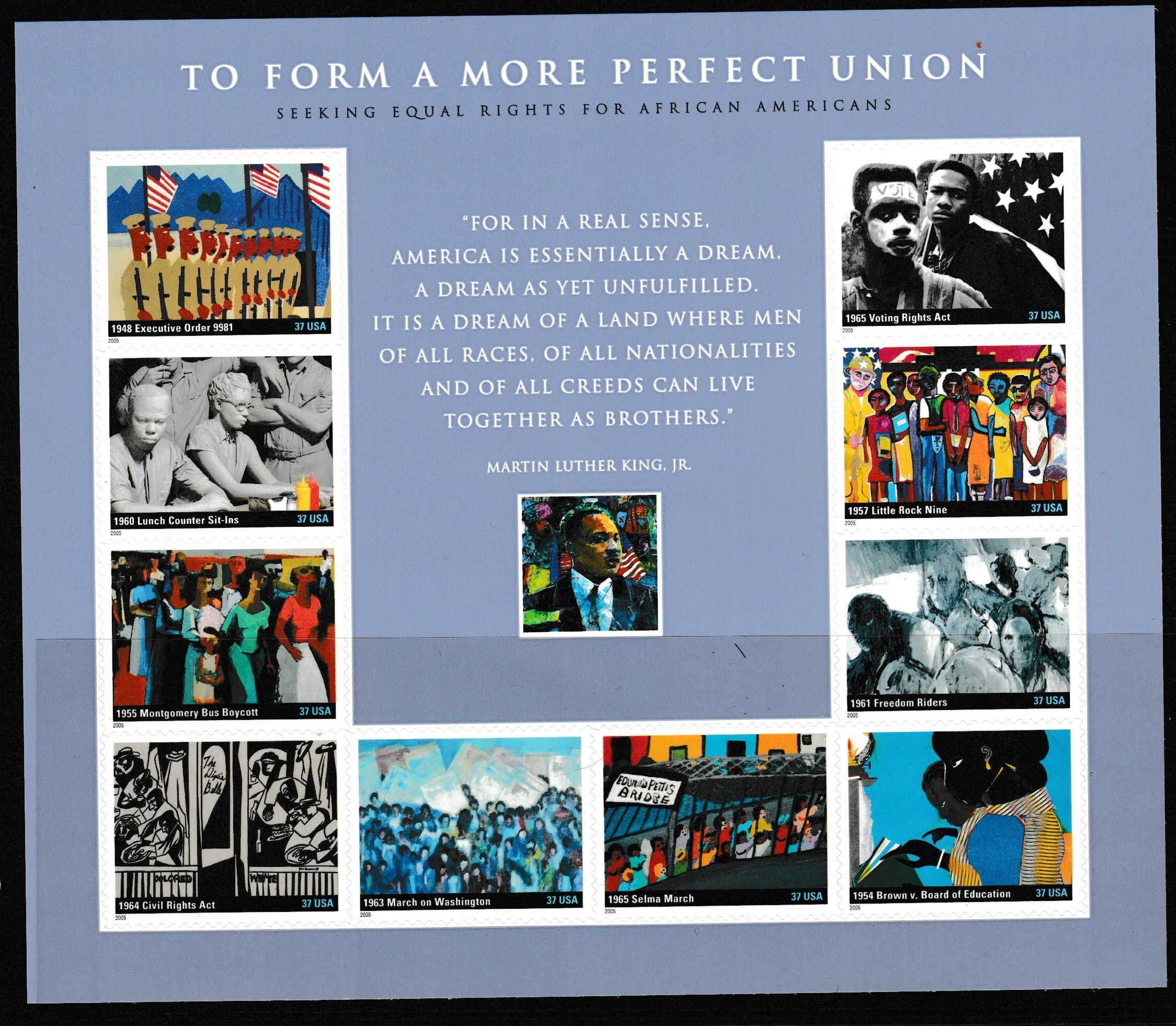 USPS Stamps Sheet Sc3937 Civil Rights