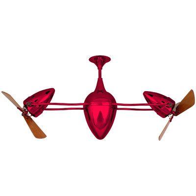 "Matthews Fan Company 48"" Ar Ruthiane 3 Wooden Blade Rotational Ceiling Fan Finish: Red"