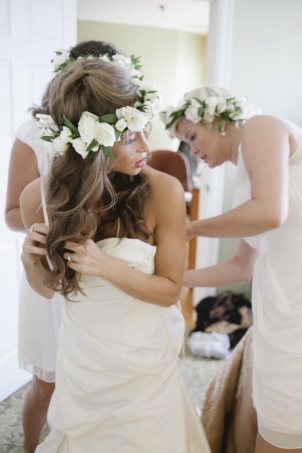 gorgeous bride and bridesmaids in floral crowns, photo by Richard Israel | junebugweddings.com