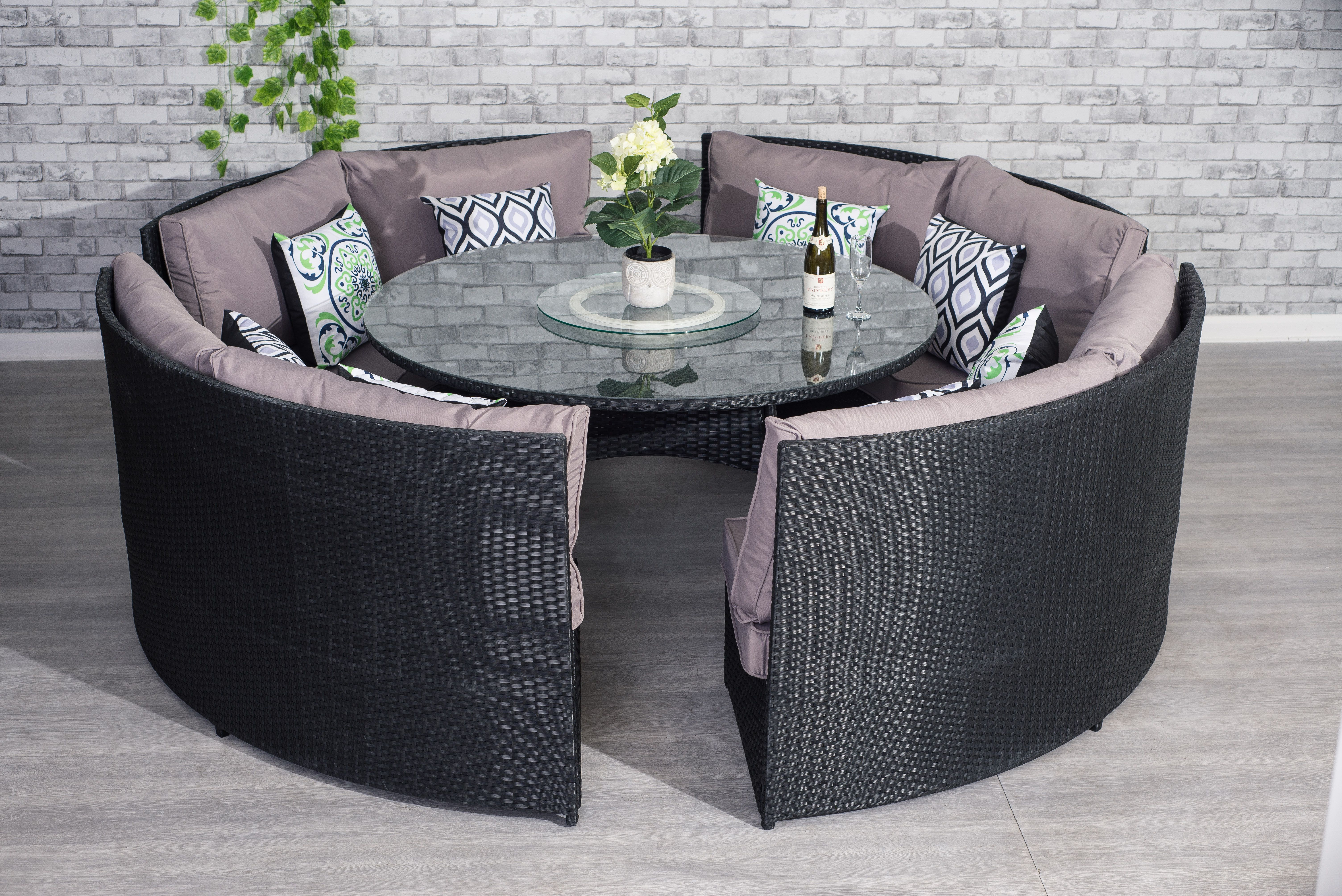 Round Dining Set 12 Seater Rattan Patio Outdoor Table Bench Chairs Clearance New Homesupp Backyard Patio Furniture Clearance Patio Furniture Patio Table Decor