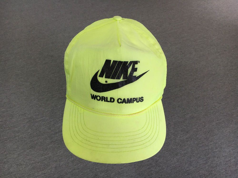NIKE WORLD CAMPUS HAT 80 s Vtg NEON Running Snap Back Cap RARE! Nylon  Nike c4bd2d23b6b