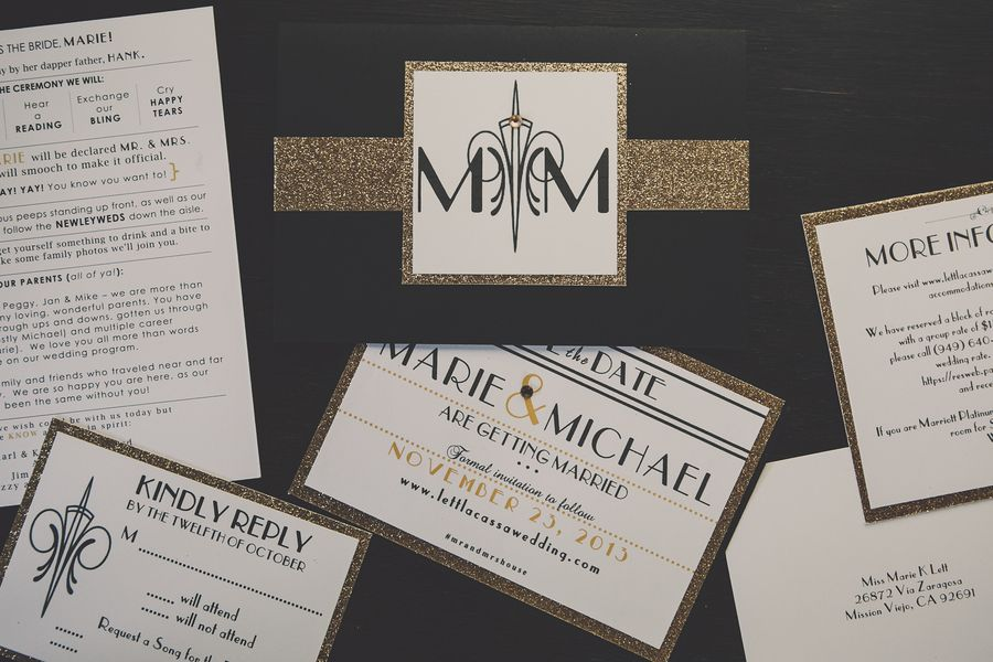 The coupleu0027s wedding invitations were white and