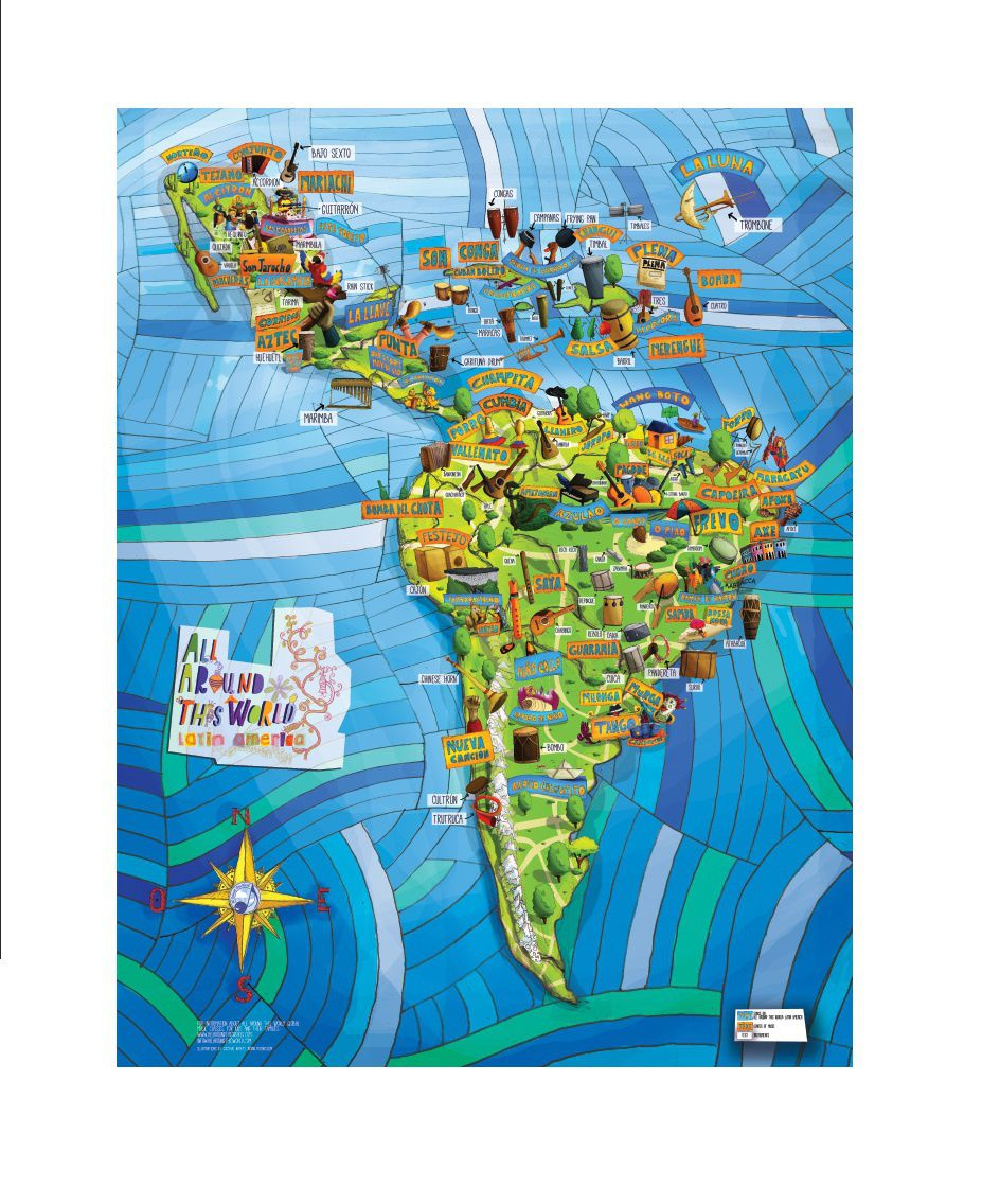 All around this world latin america musical map 24 x 36 poster all around this world latin america musical map 24 x 36 gumiabroncs Image collections