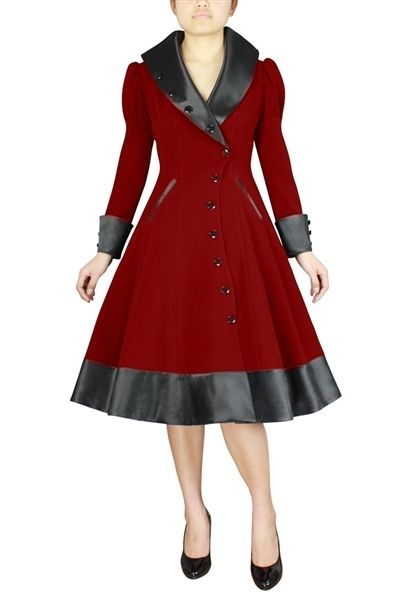 Plus Size Pin Up Clothing Trench Coat Red Vintage Inspired 1950s ...