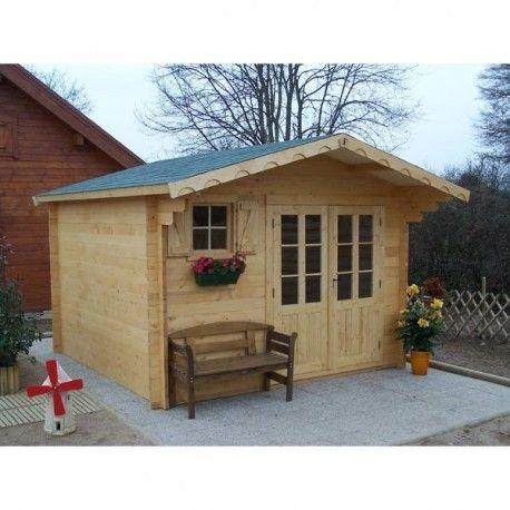 Abri de jardin en bois lumineux avec deux portes fenêtres. Cabane de ...