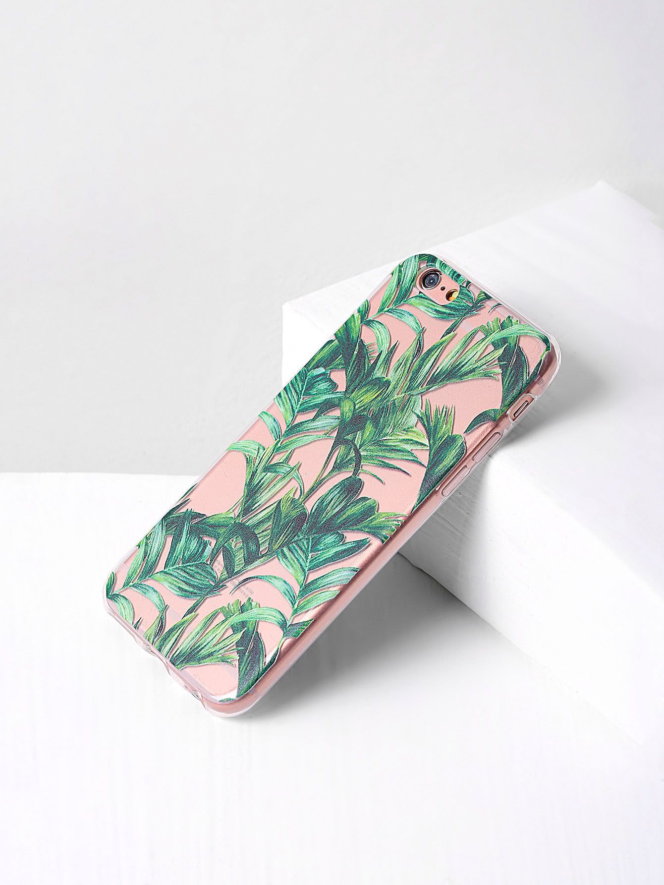 93c3a60cb6 Shop Green Leaf Print Clear iPhone Case online. SheIn offers Green Leaf  Print Clear iPhone Case & more to fit your fashionable needs.