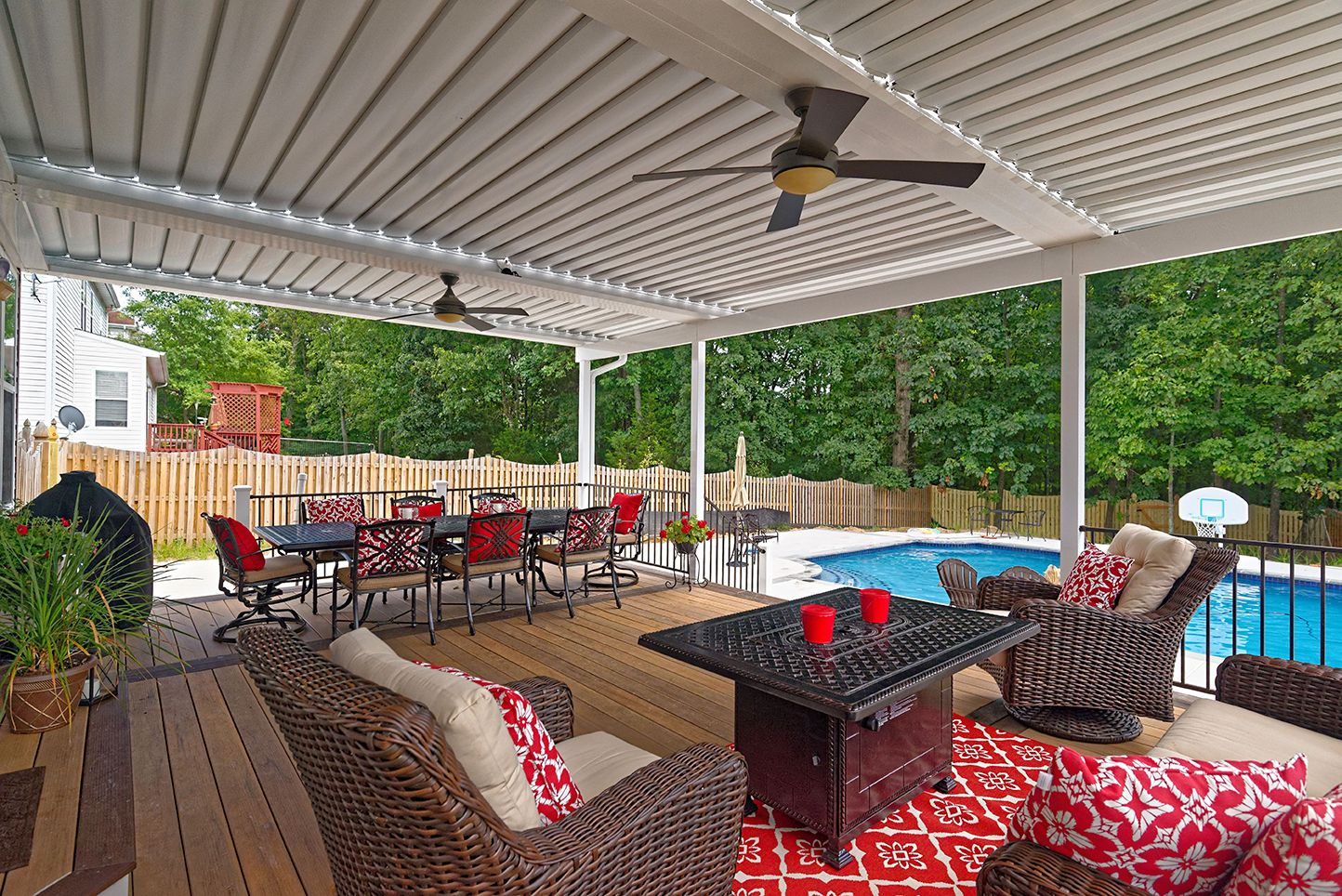 Relax By The Pool Under An Equinox Adjustable Louvered Roof Close The Louvers For Shade Or Rain Prote Rustic Pergola Pergola Ideas For Patio Metal Pergola Diy
