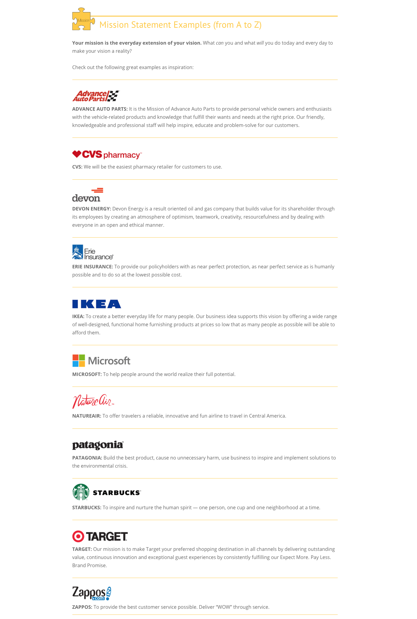 Examples Of Mission Statements From Top Companies