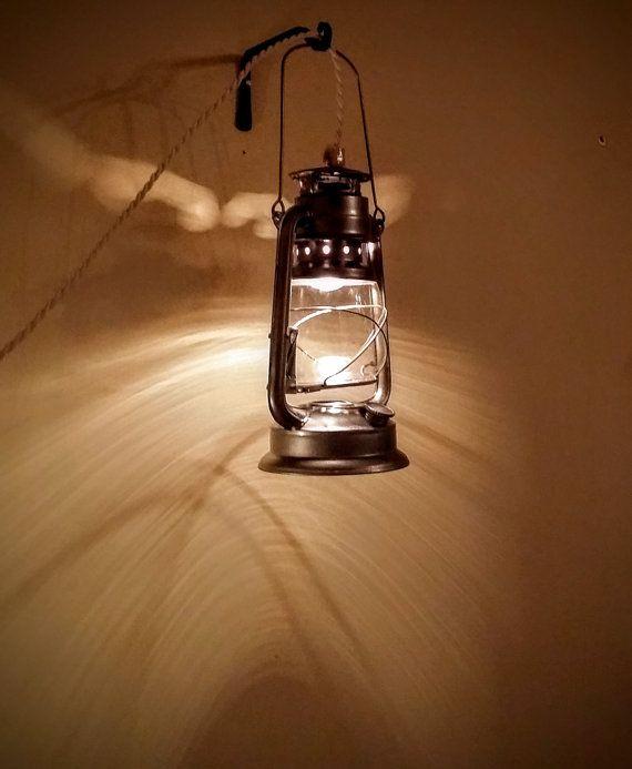 Large Pendant Lantern Lamp Plug In Electric Rustic Railroad Fall Winter Cabin Decor Hanging Light