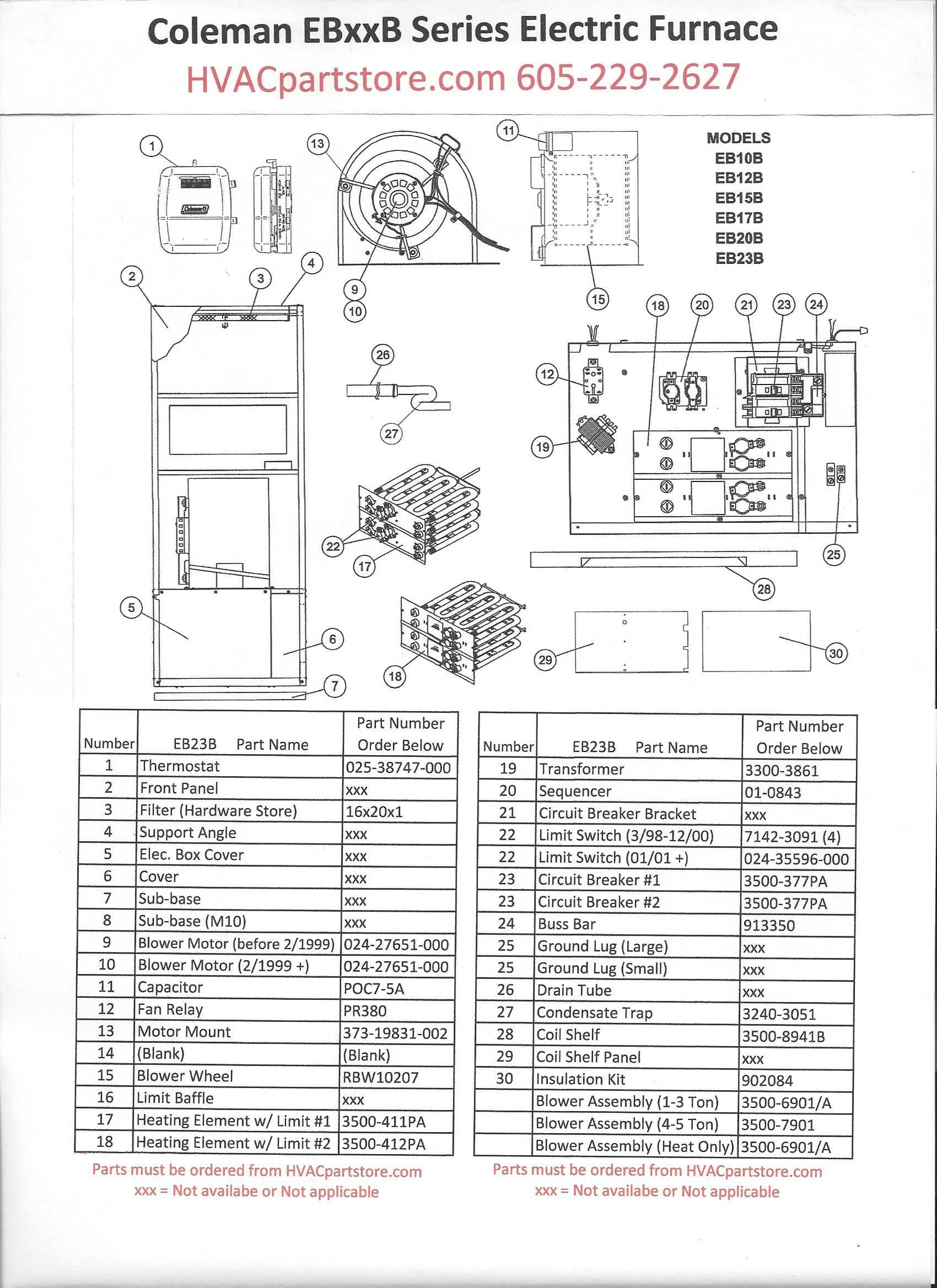 parts listing for a coleman eb23b electric furnace 22 6kw 77 000 btu click here to view a manual with wiring diagrams  [ 1700 x 2338 Pixel ]