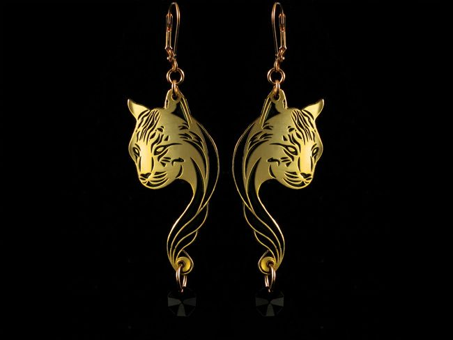 Gold plated linxes earrings. Shop at freesiarose.com
