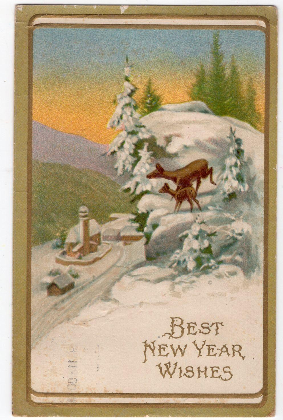 Best New Year Wishes Vintage postcard, Deer in snowy woods