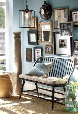 A Fun, Eclectic Family Frame Gallery And Comfortable Bench Make For A Cozy  And Warm. Wall CollageFrame ...