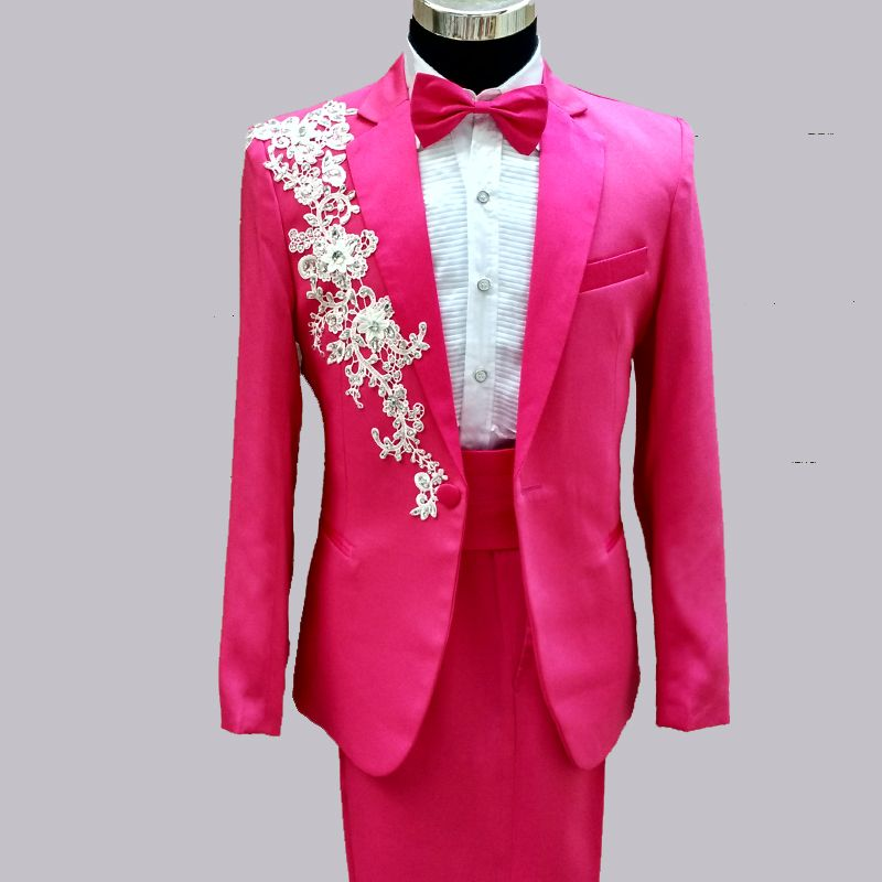 jacket pants) man suits red white black pink red green wedding ...