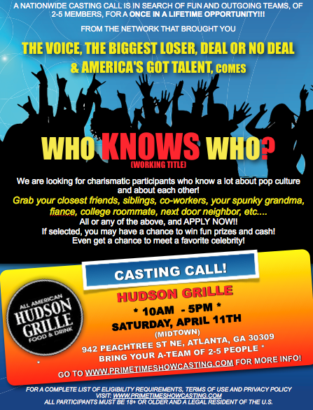 Open Casting Call Who Knows Who Wt A New Show For The Network That Does The Voice And Biggest Loser Atlanta It Cast Tv Show Games Casting Call