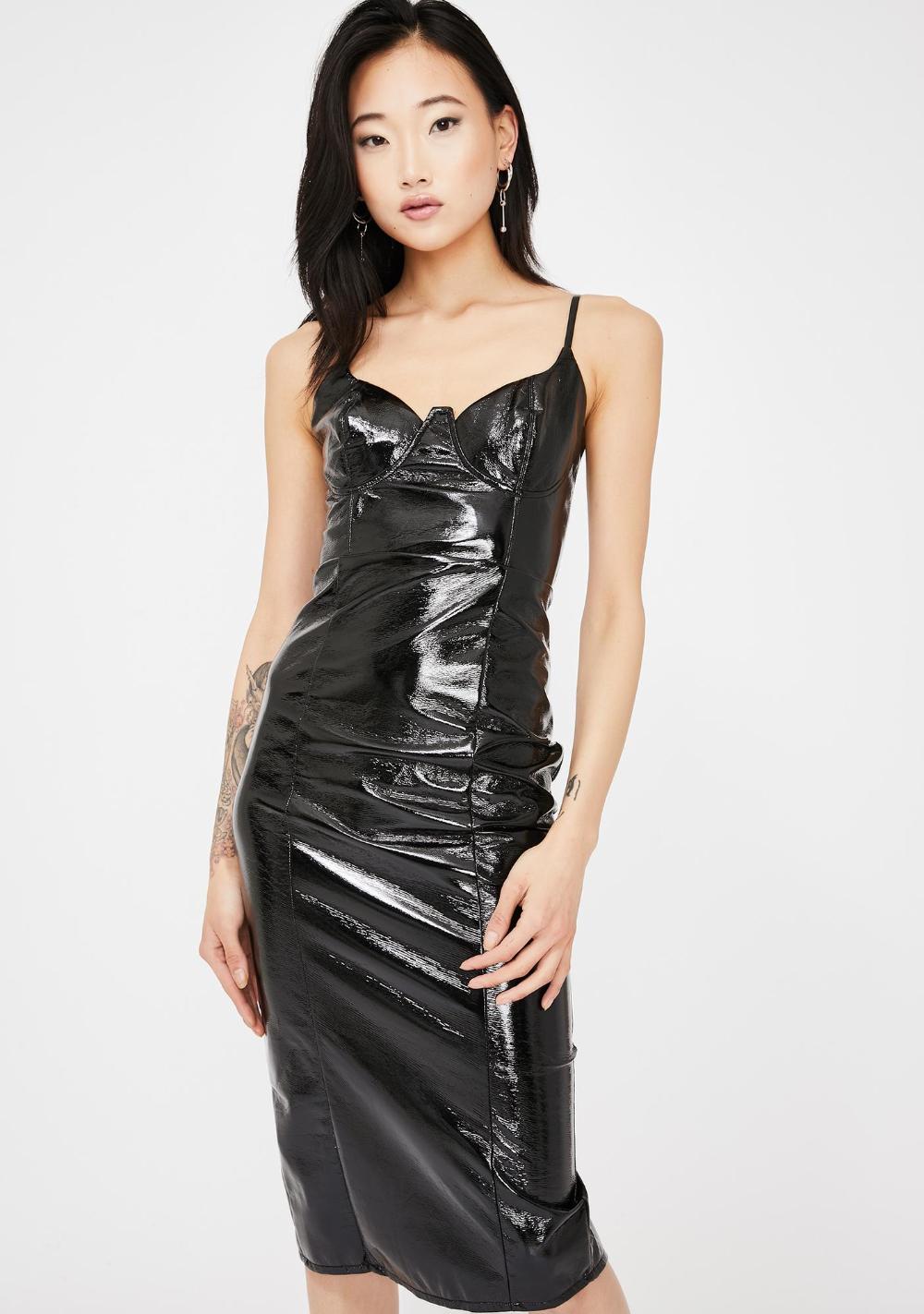Black Vinyl Structured Midi Dress Lil Black Dress Metallic Mini Dresses Midi Dress [ 1423 x 1000 Pixel ]