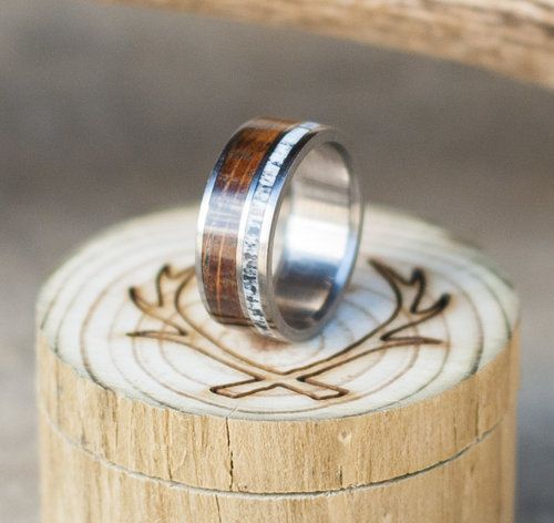 Whiskey barrel wedding ring with elk antler inlay I dream of